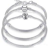 2021 Charm Bracelets 925 Sterling Silver 3mm Snake Chain Fit Charms Bead Bangle Bracelet Fashion Jewelry DIY Gift For Men Women