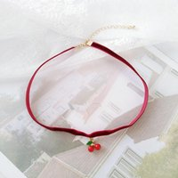 Summer Style Fruit Choker Necklaces Collares For Women Cute Strawberry Cherry Fan Shape Red Velvet Necklace Korean Girl Gift Chokers