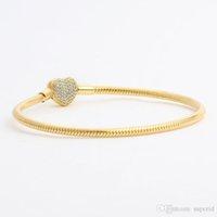 2021 Giallo 18 carati in argento Pandora per cz oro placcato catena di scatola originale braccialetti diamante 925 nuovo serpente cuore braccialetto set da donna matrimonio