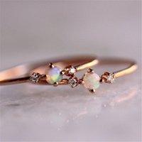 Anelli a cluster Yo 2021 fuoco opale sottile arcobaleno per le donne in oro rosa zircono zircono zircono strass semplice gioielli anel anello