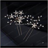 Moda El Yapımı Basit Stil Yıldız Firkete Seti 1 Set Rhinestone Saç Sticks Kadın Gelin Düğün Saç Takı Aksesuarları RJCS0 Bo6sh