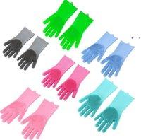 Горячие кухонные силиконовые чистящие перчатки магические силиконовые блюдо стиральные перчатки для бытового силиконового скребки резиновые перчатки для мытья посуды OWA8462