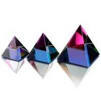 3 Sizes Egypt Egyptian Crystal Glass Pyramid Feng Shui Crystals Craft Ornament Chakra Healing Amulet Home Decor (multi Color) Q0525