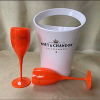 Ice Buckets And Coolers 2glass+1bucket Flutes Plastic Wine Cooler Glasses Dishwasher White Moet Acrylic Champagne Bucket IALE