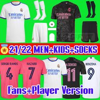 Maglie Calcio Real Madrid Soccer Jerseys 20 21 HAZARD MODRIC REINIE Camiseta 2020 2021 BALE ISCO EA Sports Maglie Quarta RODRYGO Maglia da calcio per bambini Calze Kids