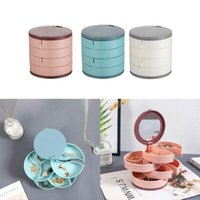 Jewelry Pouches, Bags Organizer Case With Mirror 4 Layers 360 Degree Rotating Storage Box Necklace Bracelet Ring Earring Display Tray