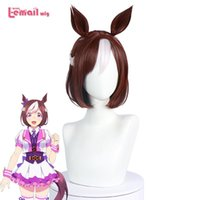 Synthetic Wigs L-email Wig Uma Musume Pretty Derby Special Week Cosplay With Bangs Braided Ears Halloween Hair Heat Resistant