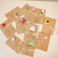 Greeting Cards 1set lot Retro DIY Handmade Dried Flower Thank You Note Birthday Party Card