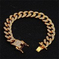 13mm Miami Cuban Link Chain Gold Серебряное Ожерелье Браслет Удаленные Удаленные Кристалл Горный Хорбук Блен Хип Хоп для мужчин 87 U2