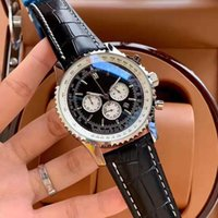 Casual High quality mens Watches 46mm stainless steel Quartz Chronograph watch Leather strap fashion bracelet Sportswear Wristwatch Sunglasses gift