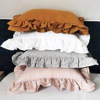 Yastık Kılıfı 48x74 cm 100% Keten Fırfır Yastık Kılıfı Ruffled Kapak Gri Beyaz Doğal Sağlıklı Keten