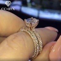 Установить кольца для женщин Пара Кольцо Cubic Zirconia Simple Classic Jewelry Bridal Wedding Weading Drop 1536 Band