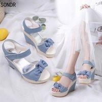 Sandals 2021 Summer Blue Denim High Heel Platform Wedges Sexy Bowtie Female Women
