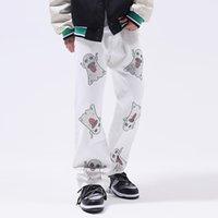 Print Straight Jeans Pants Men Style Casual Denim Trousers