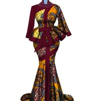 Impressão de cera africana dois pedaço conjunto Bazin Riche Elegante Roupa tradicional Africana Dashiki Crop Top e Saia Sets WY3792