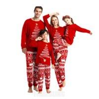 크리스마스 드레스 솔리드 컬러 엘크 인쇄 가족 일치 잠옷 세트, 학부모 - 자식 홈 서비스