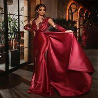 2021 vestidos de noite formal vermelhos encantadores beading sereia vestido festa sexy sheer mangas compridas ruched cetim avanço de avisos de avisos