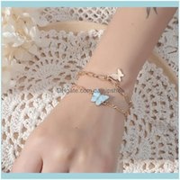 Link, Bracelets Jewelrywomen Two Layers Bracelet Charm Butterfly For Women Golden Color Chain Drop Delivery 2021 Hhlb0