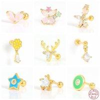 Stud Aide 925 Sterling Silver Pink Crystal Enamel Star Earrings For Women Waterdrop Zircon Charm Mini Elk Deer Ear Studs Jewelry