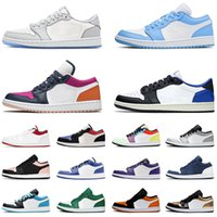 أحذية Nike Air Jordan Retro 1 Low أحذية كرة السلة للرجال والنساء Jordans Jumpman 1s TS x Fragment Chicago UNC Reverse Bred Game Royal Light Smoke Grey احذية رياضية رياضية