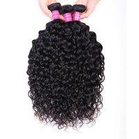 Wholesale 4 Bundles Unprocessed 10-30 Inch Natural 1B Color Water Weave Virgin Human Hair Extensions Malaysian Indian Peruvian Brazilian