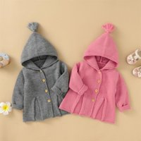 Jackets 3-24M Infant Baby Knitted Coat Unisex Boy Girl Solid Color Long Sleeve Hooed Tops Casual Spring Autumn Clothing