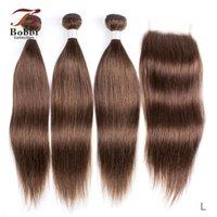 인간의 머리카락 벌크 색 4x4 레이스 폐쇄 레미 짜기와 초콜릿 갈색 스트레이트 2/3 번들 12-24 인치 Bobbi 컬렉션