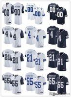 Mens Femmes Jeunesse 21 Ezekiel Elliott 4 Dak Prescott 55 Leighton Vander Esch Blanc Navy Blanc Custom Football Jerseys