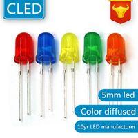 Lampadine 1000pcs Colore diffuso 5mm LED LED Lampadina Bulb rosso / verde / blu / giallo / giallo / bianco Lampada a LED Lampada a diodo luminoso