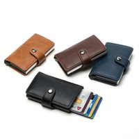 Card Holders BISI GORO Slim Casual Holder Hasp Protector Smart PU Leather Case Metal RFID Aluminum Box Men And Women ID 2021