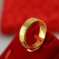 ring Great Gold plated Wall pattern imitation head men's and women's opening simple sand gold