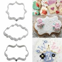Stampi da forno 3pc / Set Zucchero Biscotto Stampo Placca Cutter Cutter Cookie Cornice FAI DA TE Cake Oval Square Rettangolo Strumenti di decorazione fantasia