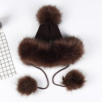 Kagenmo Imitation Pom Hat Faux Leather Straw Female Winter Thick Warm Knitted Furry Ball Beanie/Skull Caps