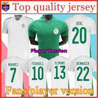 Vista fãs Versão Algerie 2021 Home Away Jerseys de futebol Mahrez Feghouli Bennacer 20 21 Argélia Kits de Futebol Camisa Men + Kids Conjuntos Maillot de Pé