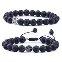 8mm Black Lava Stone Gold color Tree Of Life Weave Bracelets Aromatherapy Essential Oil Diffuser Bracelet For Women Men jewelry