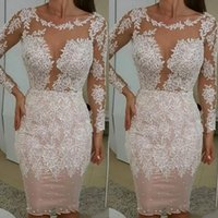 Sexy Sheath Short Prom Dresses Knee Length Jewel Long Sleeves Lace Appliques Cocktail Evening Gowns Guest Dress