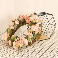 Primavera Bohemia Flor Coronas Beach Hawaii Floral Garland Romántico Faux Rose Boda Guirnaldas Diadema 40 cm # g3 Flores decorativas