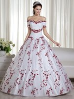 Red And White Colorful Wedding Dresses 2020 Ball Gown off the Shoulder Embroidery Beaded Corset Back Princess Non White Bridal Go