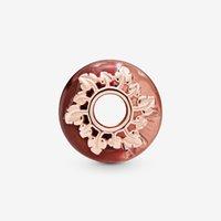 100% 925 cuentas de plata de ley rosa murano vidrio hojas encanto colgante ajuste original pandora pulseras mujeres DIY joyería
