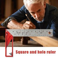 Hand Tools Precision Marking Square Ruler Stainless Steel Woodworking Tool Line Maker With Holes & Suspended Design For Art Draw Multitool
