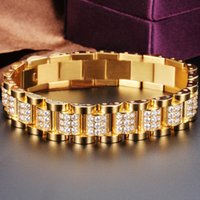 Bracelets Micro Paved Aaa Cubic Zirconia Bling Iced Out Gold Stainless Steel Watch Band Link Chain Bracelet Men Hip Hop Rapper Jewelry