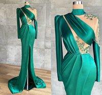 Dubai Arabic Charming Green Long Sleeve High Neck Mermaid Prom Dresses See Through Floor Length Evening Gowns Front Split Beadings Satin Formal Dress Custom Made