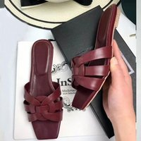 """YSL""""Slippers Designer Shoes Woman Smooth Genuine Leather Women Sandals Female Slides Summer Beach tribute Flats zlh YbE"""