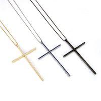 Classic large size Cross Pendant Necklace For Women Charm Jewelry Cubic Zircon CZ Diamond Crucifix Christian Ornaments Accessori 76 L2