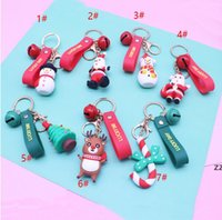 Merry Christmas Key Ring Christmas Pendant Santa Claus Elk Snowman Keychain New Year Decoration Children Xmas Jewelry Gift HWD10280