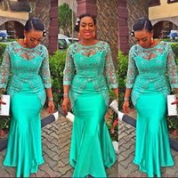 Turquoise African Mermaid Evening Dresses 2022 Lace Nigeria Long Sleeves Aso Ebi Style Prom Party Gowns vestidos de gala