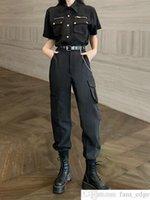 Cool Girl Wear Handsome Sports Womens Man Solta camisa de manga curta camisa alta cintura torta de cintura torrado workwear duas peças terno feminino homem moda