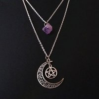 Pendant Necklaces Goth Layered Violet Crystal And Moon Necklace Pentagram Raw Charm Gothic Witch Jewellery Creative Punk Women Gift