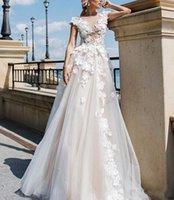 Gorgeous Appliques Lace Cap Sleeve Wedding Gowns Illusion Bodice Tulle A Line Garden Long Plus Size Bridal Dresses