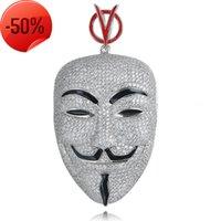 Filme V-em forma de vendetta equipe mesma masculina máscara cabeça grande pingente cheio de zircon jóias colar acessórios